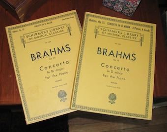 Scores for two Brahms'  piano concertos