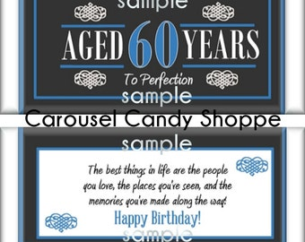 60th Birthday Party Favors Hershey's Candy Bar Wrappers Blue