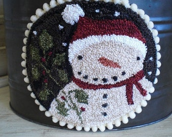 Punch Needle Snowman on Vintage Pail