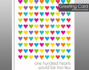 One Hundred Hearts, Anniversary Card, Sweetest Day Card, I Love You Card, Get Well Card, Birthday Card, card for child, Valentine, heart art