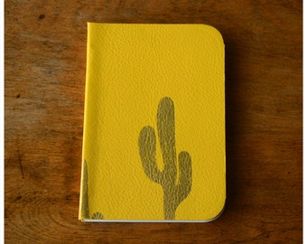 Pocket Size Leather Journal  - Yellow Leather Diary - Blank book - Cactus Notebook - Recycled Paper - Cactus