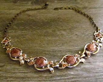 Vintage Gold Tone & Copper Faux Goldstone Necklace