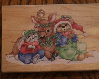 Stamps Happen Snow Animals wood mounted rubber stamp Christmas Holiday #80069