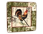 French Country Rooster Wall Clock - Olive Green Damask Rustic Rooster Clock - Cottage Chic Home Decor - Ceramic Plate Clock - 1845