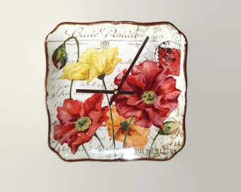 Poppy Wall Clock 8-1/2 Inches, Kitchen Wall Clock, French Wall Clock, Poppy Post Card Clock, Carte Postale De Fleurs - 2359