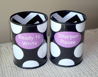 Black and White Polka Dot and Chevron Desk Accessories - Tin Can Pencil Holder with Labels - Classroom Organization - Teacher Gift   824