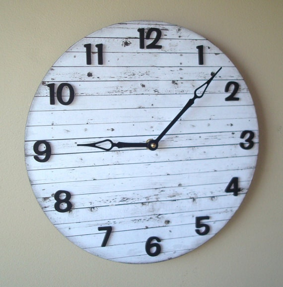 Silent Wall Clock 10 Or 12 Inch White Wood Image By