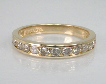 Vintage Diamond Wedding Band - Channel Set 14K Yellow Gold