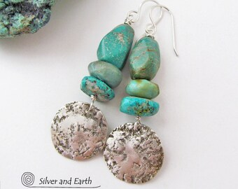Turquoise Earrings, Hammered Sterling Silver Earrings, Artisan Handmade Organic Earthy Primitive Rustic Natural Chunky Turquoise Jewelry