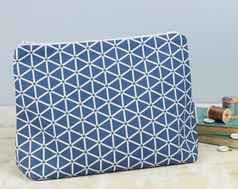 Karin Toiletry Bag, striking blue design cosmetic bag, large zip pouch