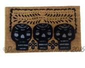 Mexican 3 skulls Day of the Dead doormat Halloween