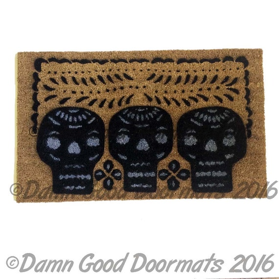 Mexican 3 skulls Day of the Dead doormat Halloween