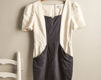 Vintage Navy and Linen Wiggle Dress Adele Simpson New York Structure Dress