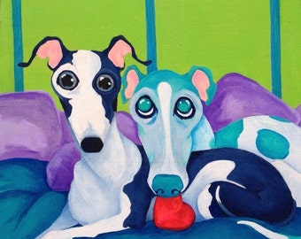 greyhound art, Italian greyhound, True love, Best friends 8x10 inch print, crtsart