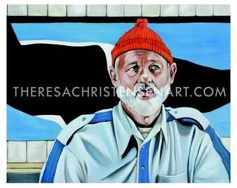 """11""""x14"""" Steve Zissou / Bill Murray inspired art print"""