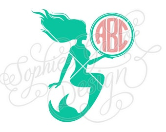 Mermaid Monogram SVG DXF PNG digital download files for Silhouette Cricut vector clip art graphics Vinyl Cutting Machine, Screen Printing