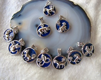 Chinese Zodaic Lapis Silver Plated Pendant Astrological signs Blue Lapis Pendant