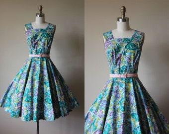 1950s Dress - Vintage 50s Dress - Novelty Print Butterfly Rhinestones Full Circle Skirt Cotton Sundress L - Flitter Dress