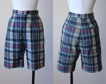 50s Shorts - Vintage 1950s Bermuda Shorts - Navy Madras Plaid High-Waisted Bombshell Cotton Shorts XS - Cricket Club Shorts