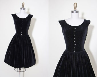 1950s Party Dress - Vintage 50s Dress - Black Velveteen Rhinestone Novelty Full Skirt Party Dress M - Sparkle Plenty Dress
