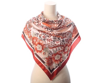 PEONY Print Scarf 1980s Vintage Bohemian Floral Muffle Printed Beige Rustic Brown Bold Flowers Neck Scarf 33 inch Moms Women Gift
