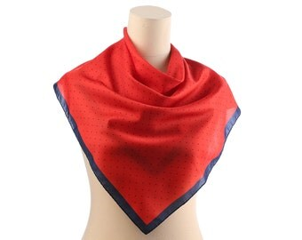 POLKA DOT Scarf 70s Red and Navy Retro Neck Scarf Neckerchief Shawl  Mod Vintage Neck Scarf 1970s Kerchief Hipster Neckwear Women Gift