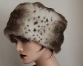 RESERVED ITEM  for Debra    Snow Lynx Faux Fur Winter Hat