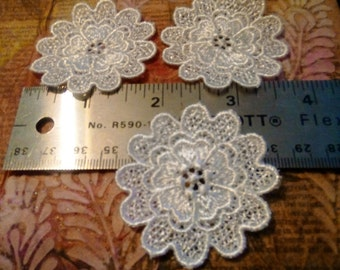 3 Doily Flowers - Applique