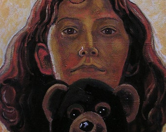 Young Girl With A Teddy Bear, Original Realistic Oil Painting, Portrait