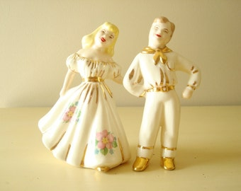 Vintage square dance couple, cowboy & cowgirl wedding cake topper, collectible china figurines, country western girl, country boy