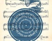 Made to order Personalized gift, customized song Print, Made to Order, your song, your text, Print in spiral over sheet music reproduction
