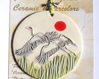 Sand Hill Cranes Ornament, gift wrapped