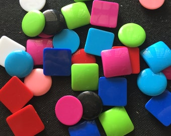 20 pcs Mix square and round  Cabochon Flatback findings Size around 25 mm