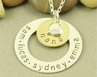 ON SALE Nana Necklace, Personalized, Hand Stamped, Sterling Silver Mom Necklace