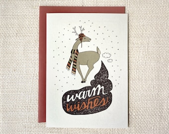 Sale 50% Off - Funny Christmas Card - Warm Wishes