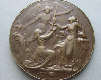 Antique Joan Of Arc French Religious Art Medal Saint Michael The Archangel Sign Yencesse SS 453