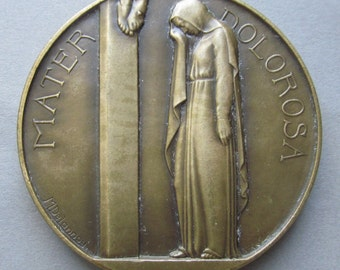 Antique Mater Dolorosa Religious Art Medal French Bronze Mother Of Sorrows Signed Delannoy