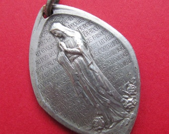 Virgin Mary Antique Religious Medal Our Lady of Lourdes Angel and Bishops  SS-206