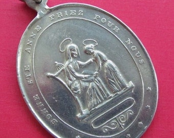 Antique Good Saint Anne And the Virgin Mary Religious Medal Catholic Silver Pendant   SS492
