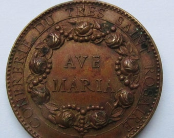 Antique Virgin Mary Ave Maria Religious Medal Queen of the Most Holy Rosary   SS-182