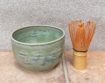 Matcha chawan green tea bowl and chasen bamboo whisk hand thrown in stoneware pottery ceramic