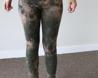 XS Organic Green and Brown Tie Dye Leggings