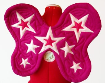 Starshine Pink-on-Pink Wings. Star Fairy, Sky Princess, Garden Pixie. Felt, No wire. Original design.