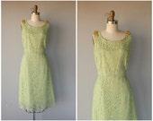 1950s Dress | Vintage 1950s Cocktail Dress | 50s Dress | 1960s Lace Dress | 60s Cocktail Dress Lace Illusion Dress