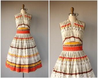 Vintage 1950s Dress | 50s Halter Dress | 1950s Cotton Halter Dress | 50s Day Dress