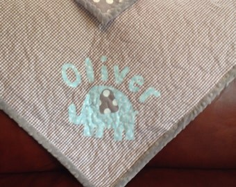 Baby Quilt Boy - Gray Blue Baby Boy Quilt Elephant Quilt Baby Blue Gray Dot Gingham Personalized Made To Order Modern Baby Quilt