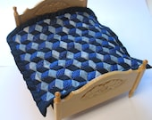 Dollhouse Miniature Patchwork Quilt in 12th Scale - Blue Diamonds