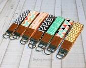Key Fob / Key Wristlet - Choose Your Fabric - Aztec - Arrows - Herringbone - Chevron with Vegan Leather