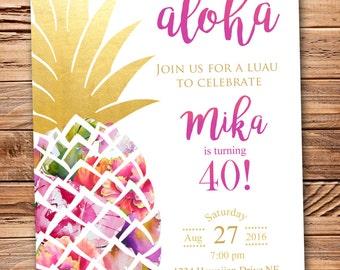 Hawaiian Luau Pineapple Birthday/Shower/Party Invitation!