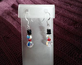 Snowman Swarovski Crystal Earrings